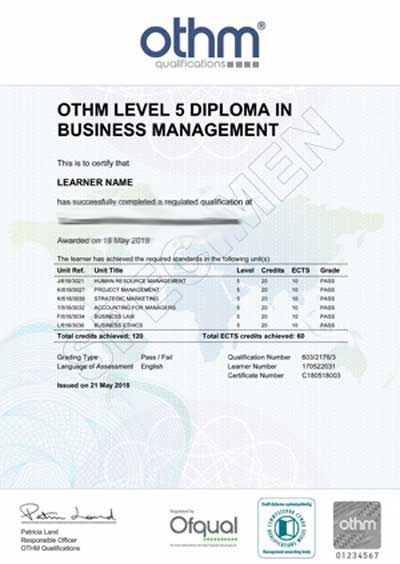 Sample Certificate from LSBR, UK